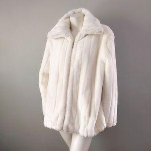 Vtg 90s Braetan Snow White Faux Mink Fur Bomber